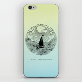 IN THE WAVES OF CHANGE WE FIND OUR TRUE DIRECTION (Blue) iPhone Skin