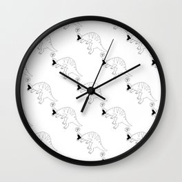 dinossaur eating pizza pattern Wall Clock