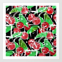 Ripe cherry . Abstract red black berry pattern . Art Print