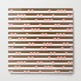 Spotty Stripe Brown & Pink Metal Print