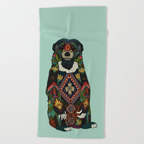sun bear mint Beach Towel