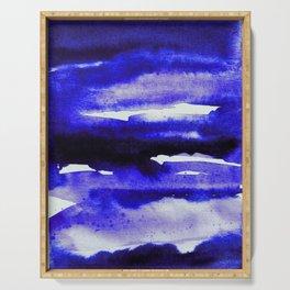 Cerulean Blue Minimalist Watercolor Serving Tray