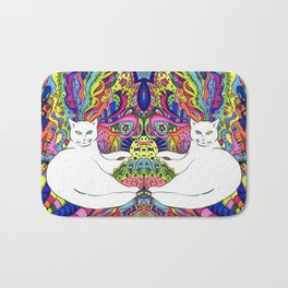 Psychedelic White Cat Bath Mat