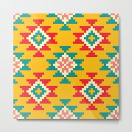 Bold and Vibrant Native Inspired Pattern on Yellow Metal Print