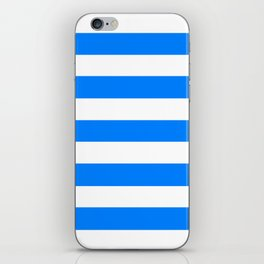 Azure - solid color - white stripes pattern iPhone Skin