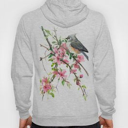 Titmouse and Cherry Blossom, birds and flowers design artwork Hoody