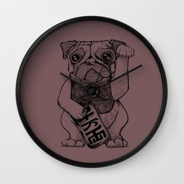 Lucky Pug [violet] Wall Clock