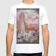 Boat over the City MEDIUM White Mens Fitted Tee