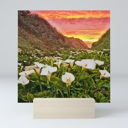 'Calla Lily Sunrise at Big Sur' Portrait Painting by Jeanpaul Ferro Mini Art Print