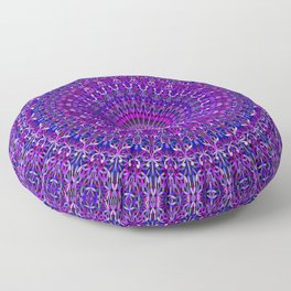 Lace Mandala in Purple and Blue Floor Pillow