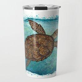 """Hawksbill Sea Turtle"" by Amber Marine ~ Watercolor & Sea Salt Painting, (Copyright 2016) Travel Mug"