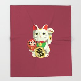 Maneki Neko - Lucky Cat Throw Blanket