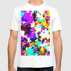 psychedelic geometric triangle abstract pattern in purple pink blue yellow red MEDIUM Mens Fitted Tee White