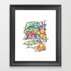 Hippo family Framed Art Print