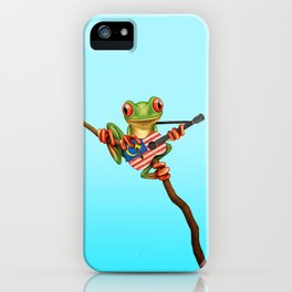 Tree Frog Playing Acoustic Guitar with Flag of Malaysia iPhone Case