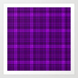 Purple plaid checkered pattern Art Print
