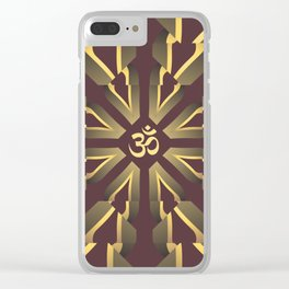 Om Fractal Purple & Yellow, Aum Kaleidoscope Clear iPhone Case
