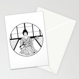Shamisen and Geisha Stationery Cards