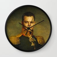 replaceface Wall Clocks featuring Matt Damon - replaceface by replaceface