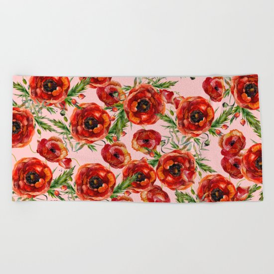 Poppy Pattern On Pink Background Beach Towel