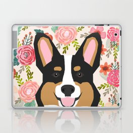 Tricolored Corgi cute corgi florals dog portrait custom dog art pet friendly dog head cell case Laptop & iPad Skin