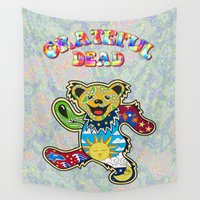 grateful dead Wall Tapestries featuring Grateful Dead (Vector Art) by Troy Arthur Graphics