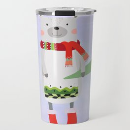 Cute Bear in Winter Wear Holding Umbrella Travel Mug