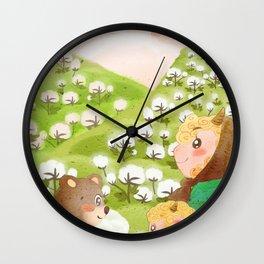 Girl And Cute Bear Wall Clock