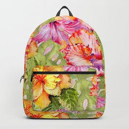 Tropical Summer Sun Colorful Hibiscus Backpack