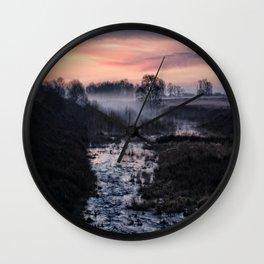 Foggy Sunrise At Chasewater Wall Clock