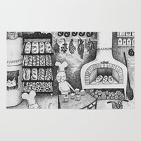 baking Area & Throw Rugs featuring Baking Cats by Ulrika Kestere
