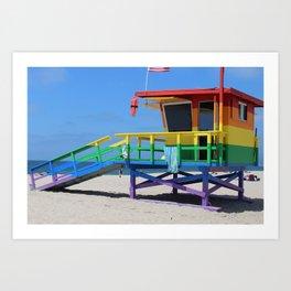 Rainbow Lifeguard Stand (Venice, California) Art Print