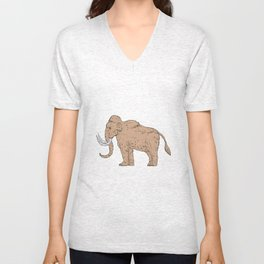 Woolly Mammoth Side Drawing Unisex V-Neck