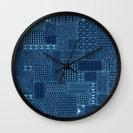 African Indigo Tribal Mud Cloth Wall Clock