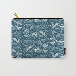 Hares in Snow Field, Winter Animals Rabbits Pattern Wool Texture Teal Carry-All Pouch