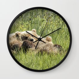 Counting Salmon - Bear Cubs, No. 3 Wall Clock