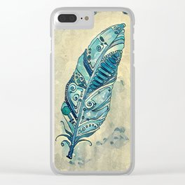 Space Feather in Teal Blue Clear iPhone Case