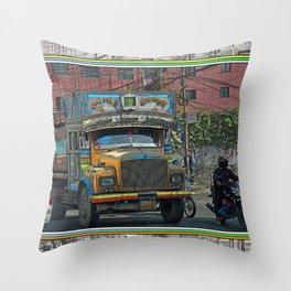 STREET SCENE IN KATHMANDU TRUCK AND MOTOR BIKE Throw Pillow
