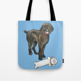 Milo the Poodle with his Monkey Tote Bag