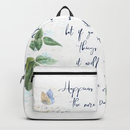 Happiness Is Like A Butterfly by Henry David Thoreau Poem Art Quote Backpack