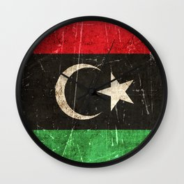 Vintage Aged and Scratched Libyan Flag Wall Clock