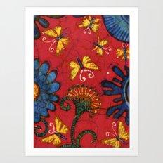 Batik butterflies and flowers on red Art Print