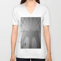 brooklyn bridge V-neck T-shirts featuring Brooklyn Bridge by Gold Street Photography