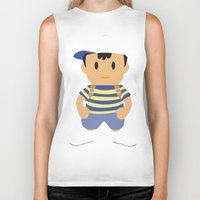 earthbound Biker Tanks featuring Ness - Earthbound - Super Smash Brothers - Minimalist by Adrian Mentus