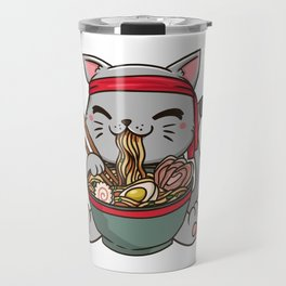 Cute Anime Ramen Cat - Otaku T-Shirt Travel Mug