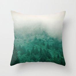 Misty Moody Mountain Forest Fog Northwest Oregon Washington Throw Pillow