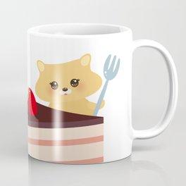 cute kawaii hamster with fork, Sweet cake decorated with fresh Strawberry, pink cream and chocolate Coffee Mug