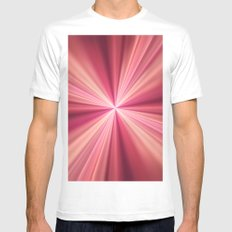 Pink Rays Abstract Fractal Art Mens Fitted Tee White MEDIUM