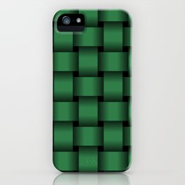Large Dark Green Weave iPhone Case