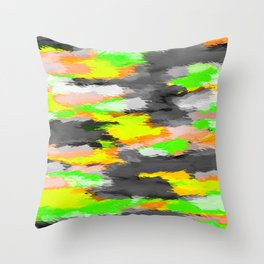 psychedelic camouflage splash painting abstract in orange green yellow and black Throw Pillow